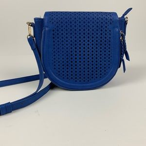 Bright Blue Perforated Leather Zipper Purse